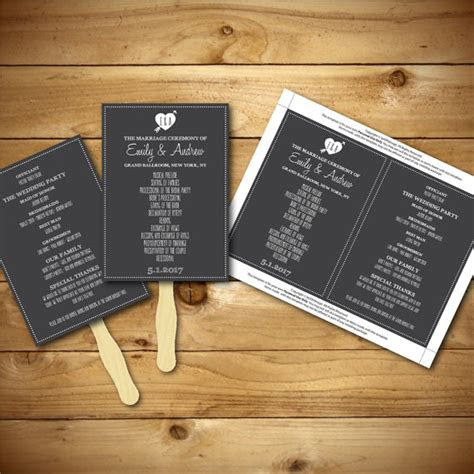 printable wedding program template chalk fan program