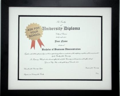 Graduation Diploma University 85 X 11 Certificate Matted Black Frame