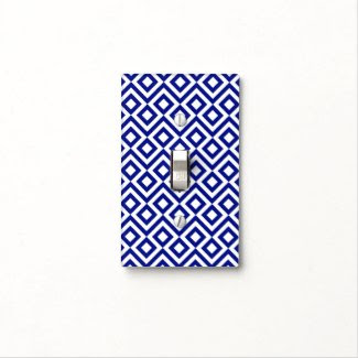 Blue and White Meander Light Switch Plates