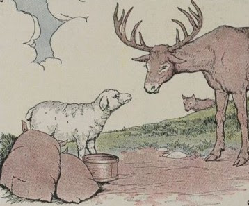 THE STAG, THE SHEEP, AND THE WOLF