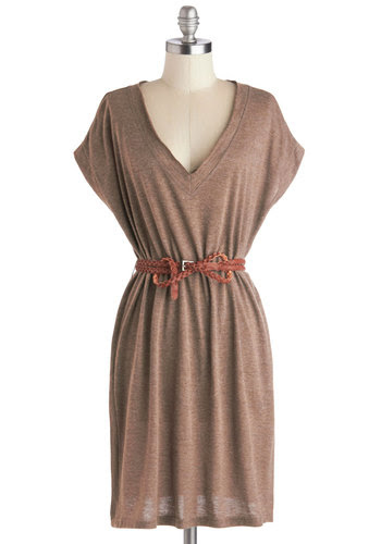 Wheat Belong Together Dress - Brown, Solid, Belted, Casual, Minimal, Sweater Dress, Short Sleeves, V Neck, Mid-length, Knit