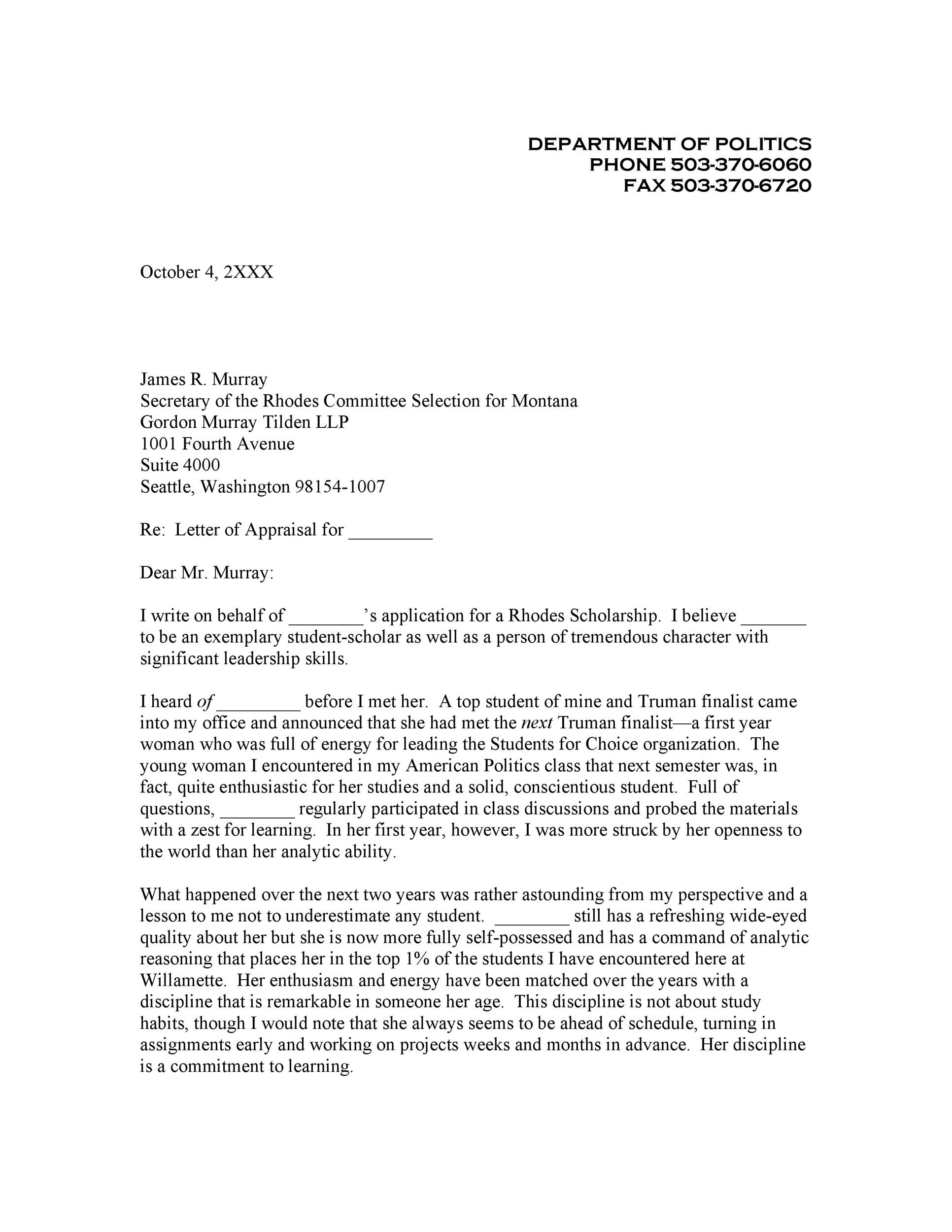 Recommendation Letter Template For Scholarship - template ...