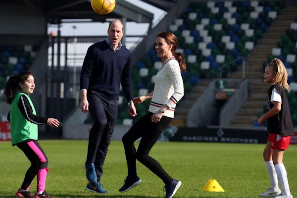 ecc9cdaf758b1 UK's Prince William and Kate show off soccer skills on surprise Northern  Ireland trip
