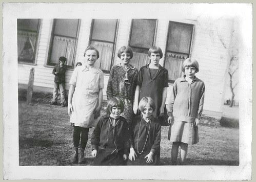Five girls in the school yard