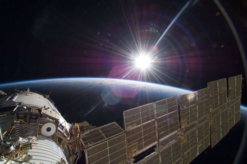 photo of Sun from ISS; Sun is white