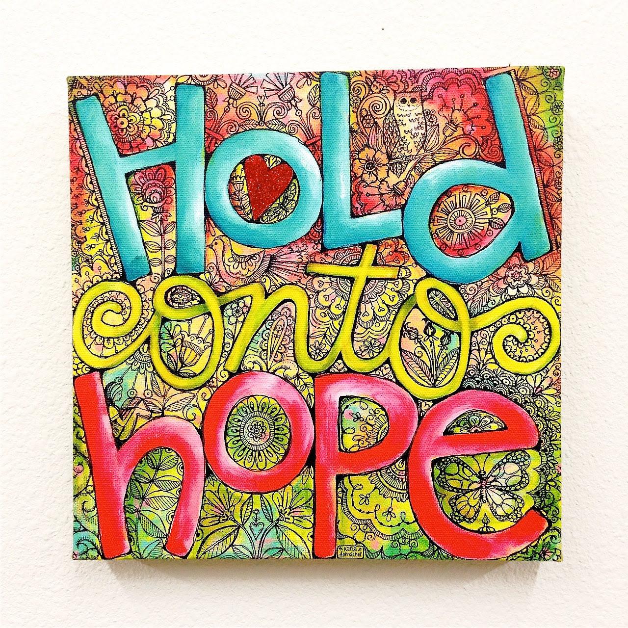 Glittered HOLD ONTO HOPE Giclee Wrapped Canvas Art Print Wall Decor- 10x10 - Christian Art