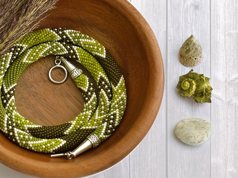 "Bead Crochet Necklace ""Soursop Tea"" - Chudibeads"