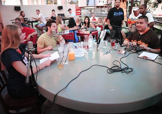 "Jeff Timmons (center) with co-hosts Christina ""CC"" Christensen and Robert Blasi"