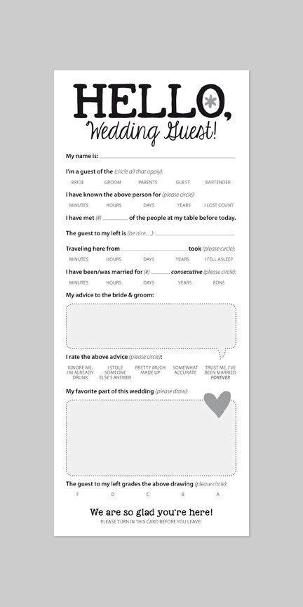 Funny Marriage Advice Card for Wedding Reception