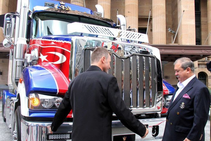 Malaysia's Sultan of Johor is shown the the Mack Super-Liner he bought.
