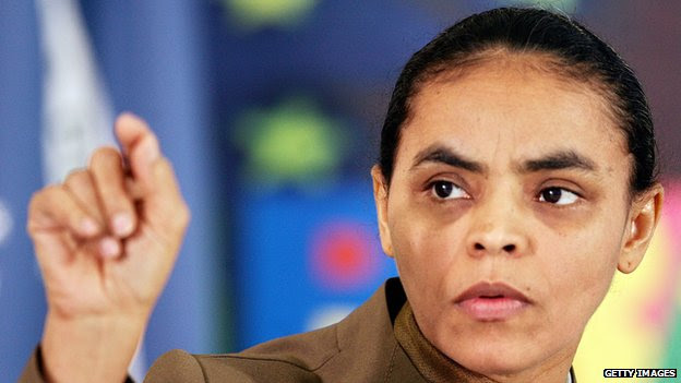 Marina Silva gestures during a press conference at the Planalto Palace on 26 August 2005, in Brasilia.