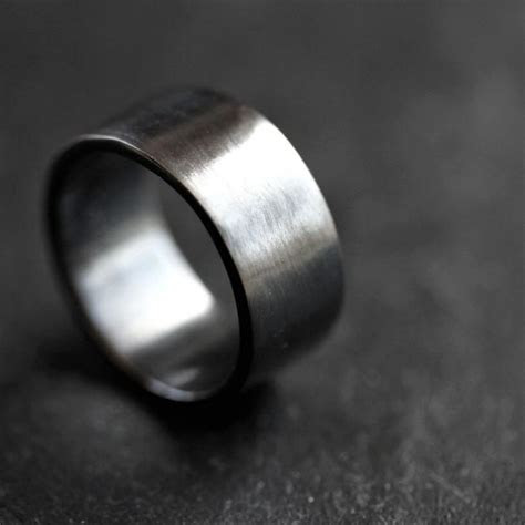 mens silver wedding band mm wide simple flat band