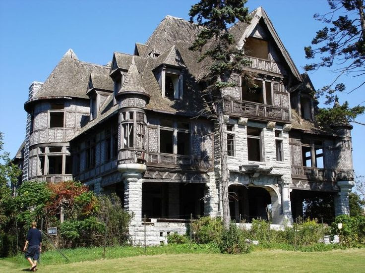 Carleton Villa- front view. Thousand Islands, NY. This mansion was built in 1891 & has been abandoned for many years. A restoration/preservation effort is now underway.