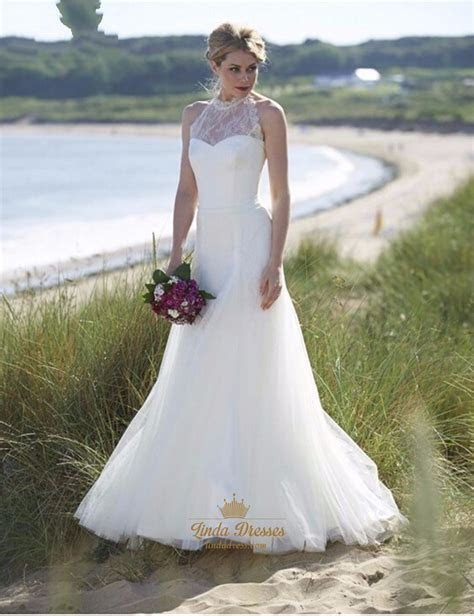 Elegant Illusion Lace Halter Tulle Skirt Wedding Dress