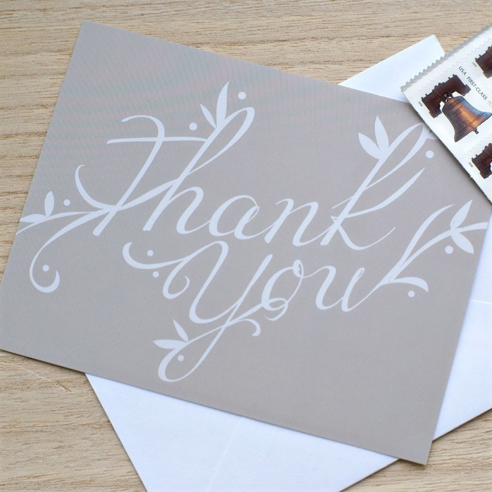 "Individual ""Thank You"" Note Card & Envelope"
