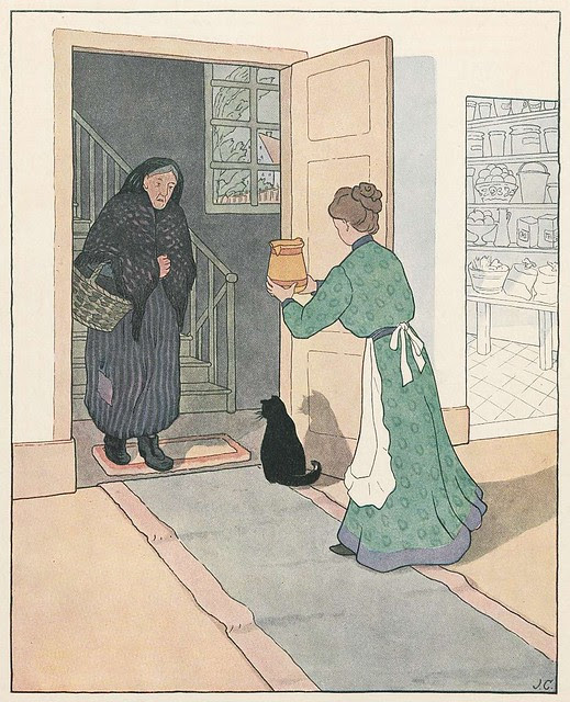 chromolithograph of old lady in doorway and housewife bringing her a vessel (?charity)