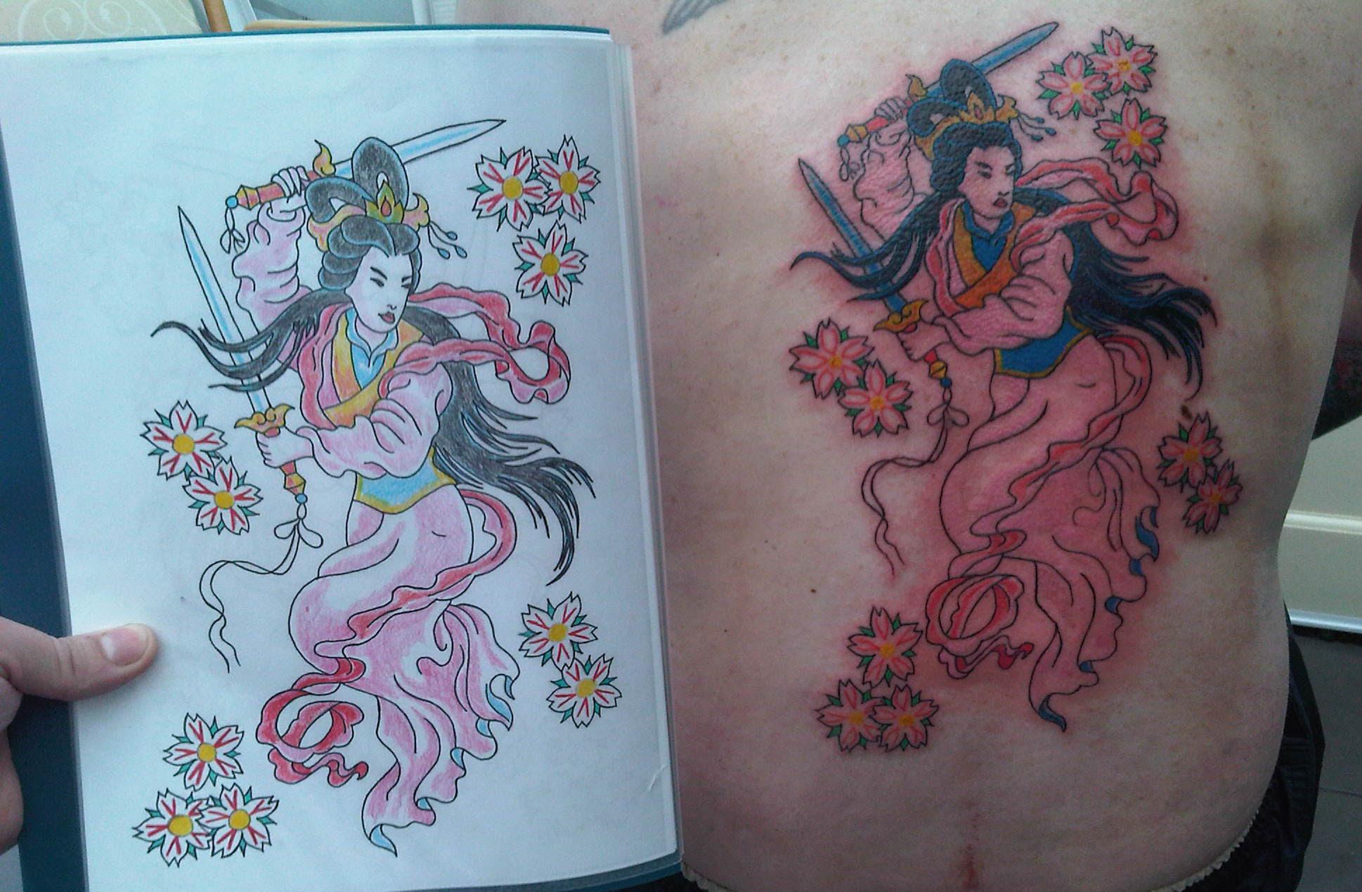 Color Ink Japanese Geisha Tattoo On Rib Side