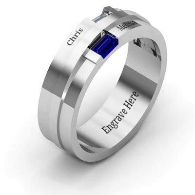 Sterling Silver Baguette Men's Ring   The Handmade