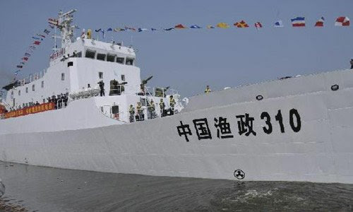 File photo taken on Nov. 16, 2010 shows the fishery patrol ship Yuzheng-310. The Yuzheng-310, China's most advanced fishery patrol ship, on April 20, 2012 arrived in waters off the coast of Huangyan Island in the South China Sea. Its mission is to protect China's territorial waters and ensure the safety of Chinese fishermen. Photo:Xinhua