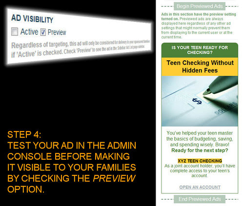 Step 4: Test Your Ad In The Admin Console