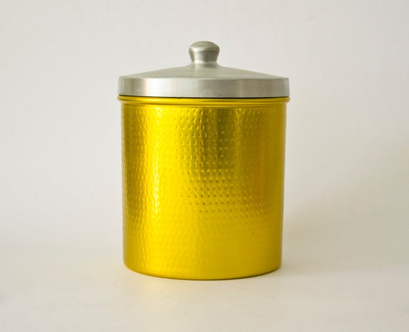 Vintage Italian Retro YELLOW Aluminum Container - ilivevintage