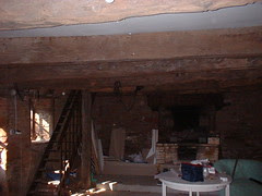 Oak beams and fireplace of second Gite