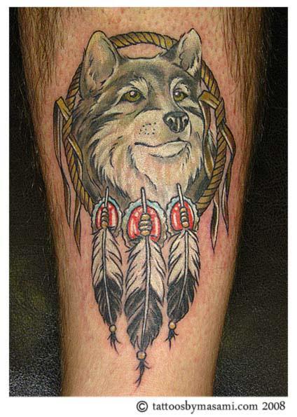 Beautiful Wolf And Dream Catcher Tattoo Design Tattoomagz