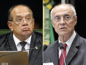 O ministro Gilmar Mendes, do STF (esq.) e o senador Eduardo Suplicy (PT-SP) (Foto: Nelson Jr./SCO/STF e Pedro França/Agência Senado)