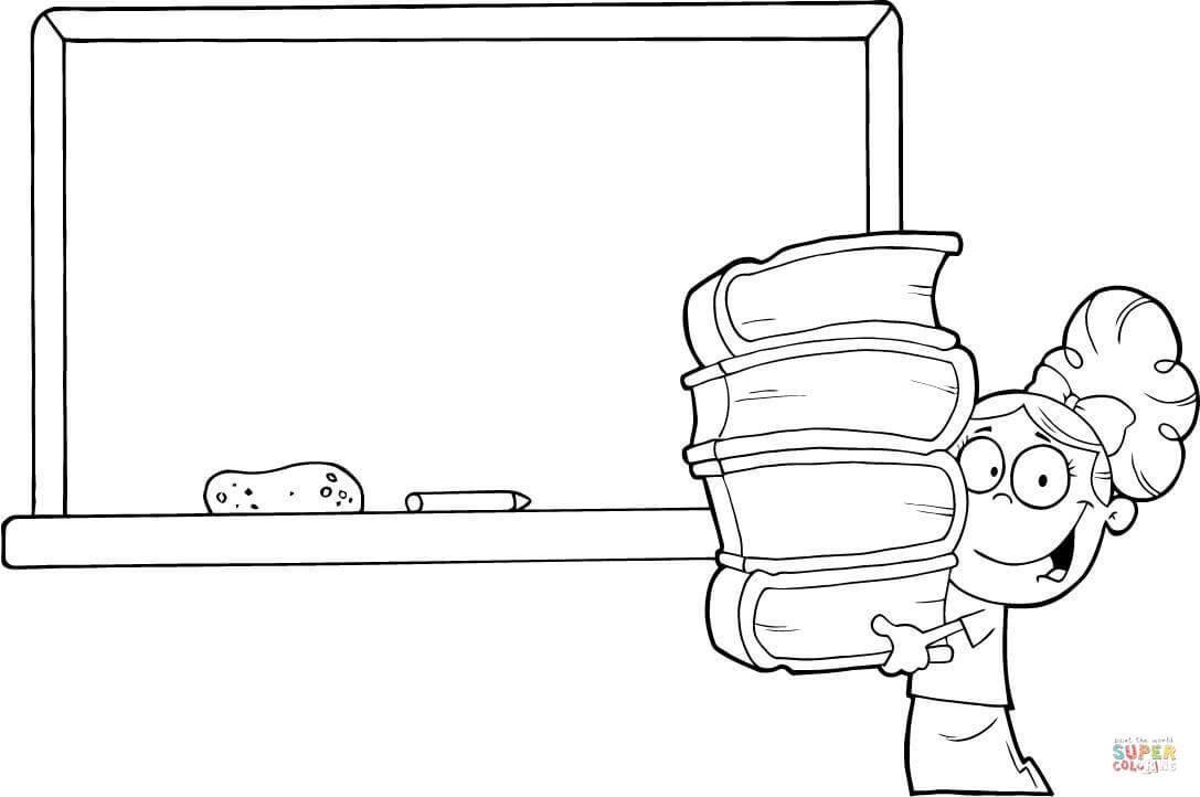 Dibujo De Alumna Con Libros Frente A La Pizarra Del Colegio Para