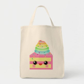Kawaii Cake Pink Rainbow Sprinkles Fun Dessert zazzle_bag