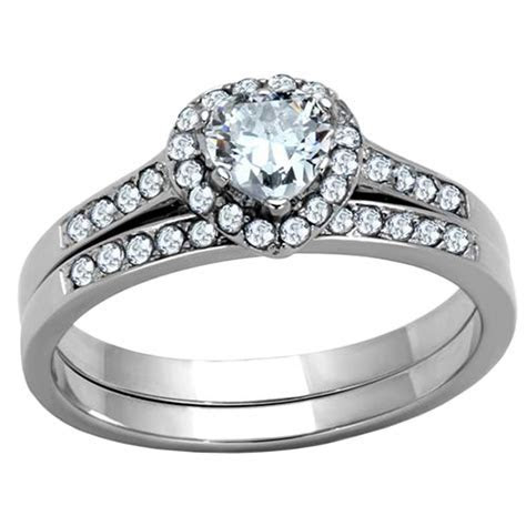 Stainless Steel Women's Engagement Wedding Ring Set AAA CZ
