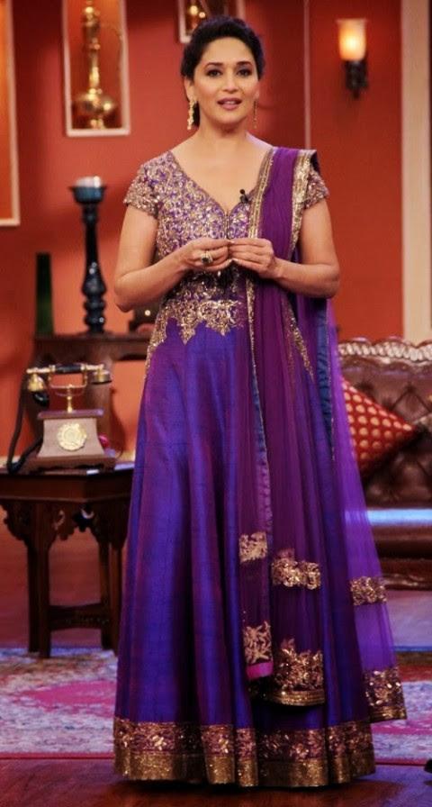 Fashion Glamour World Madhuri Dixit In A Purple Long