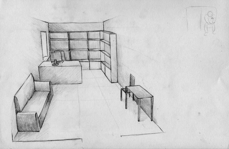 <p>Despacho del investigador Alexey. Dibujo realizado por Alexandra, la esposa de Filinkov, según la descripción de este.</p>