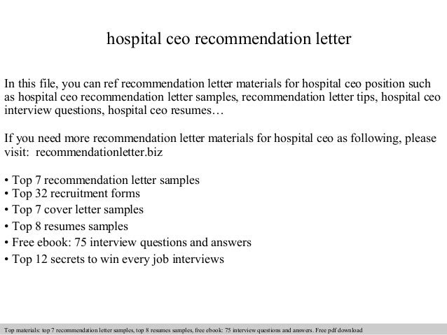Hospital Ceo Recommendation Letter