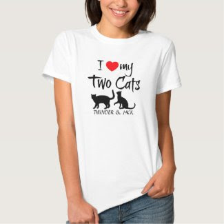 Custom I Love My Two Cats Shirt