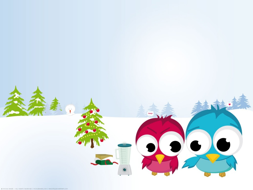 1024x768 Funny Christmas birds desktop PC and Mac wallpaper