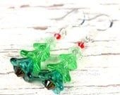 Miniature Christmas Tree Earrings, Czech Glass, Swarovski Crystal, Sterling Silver Hooks, Holiday Jewelry - PhoenixFireDesigns