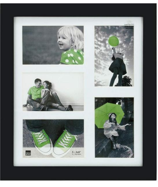 Lanford 12x14 Black Wood Collage Frame With White Mat 5 4x6