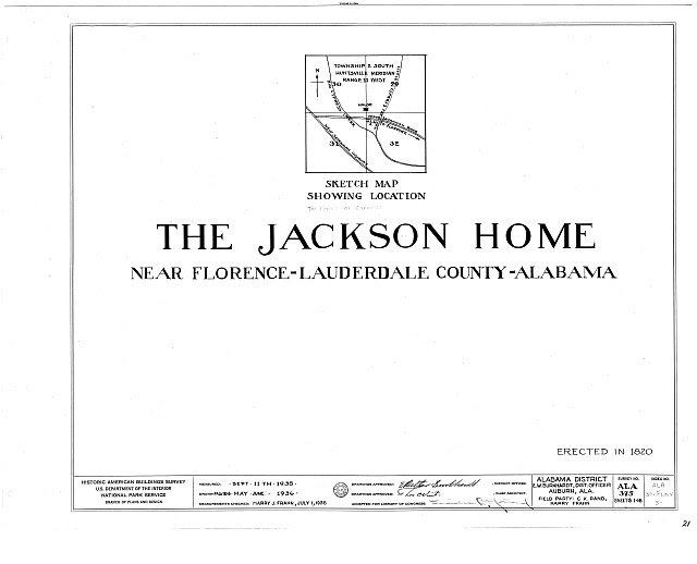 HABS ALA,39-FLO.V,3- (sheet 0 of 18) - Forks of Cypress, Savannah Road (Jackson Road), Florence, Lauderdale County, AL