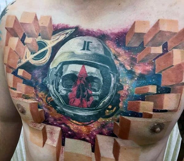40 3d Chest Tattoo Designs For Men Manly Ink Ideas