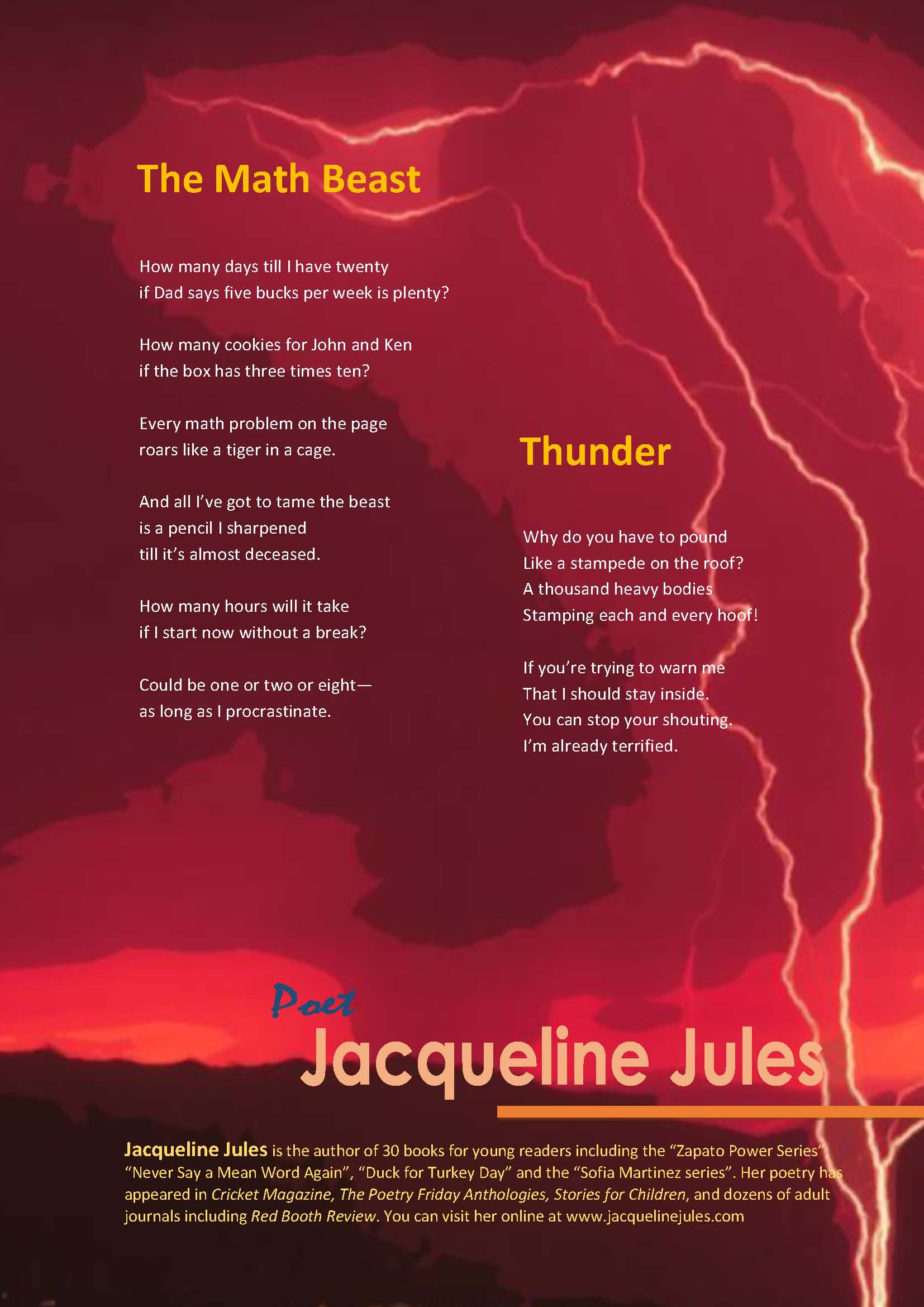 Jacqueline Jules Poetry From Classroom Presentations