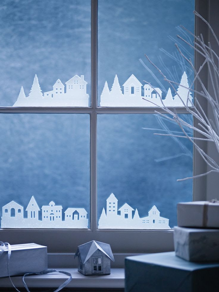 Put it on your wall or... on your windows!  I love these Midwinter Streets Window Stickers