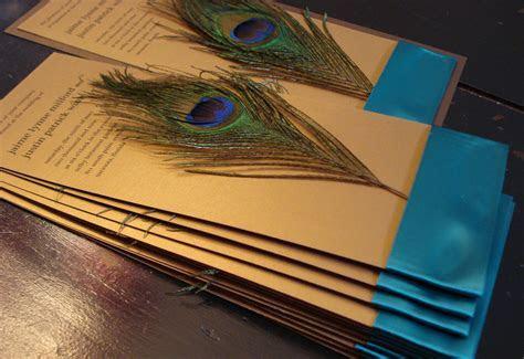 decadent feathers peacock wedding invitation