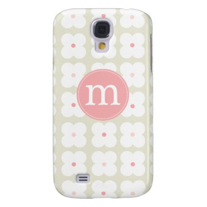Modern Light Pink & Grey Cute Personalized Samsung Galaxy S4 Covers