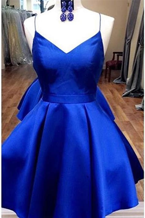 Royal Blue Straps Short Homecoming Dress with Ribbon,Short
