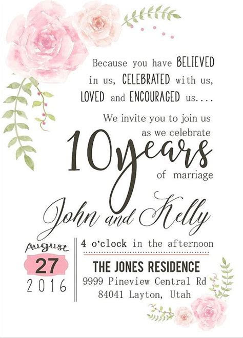 Custom Watercolor Flower 10th Year Anniversary Invitation