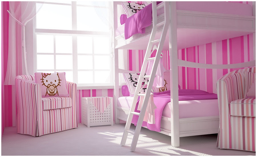 Kids Rooms: Climbing Walls and Contemporary Schemes Pink white ...