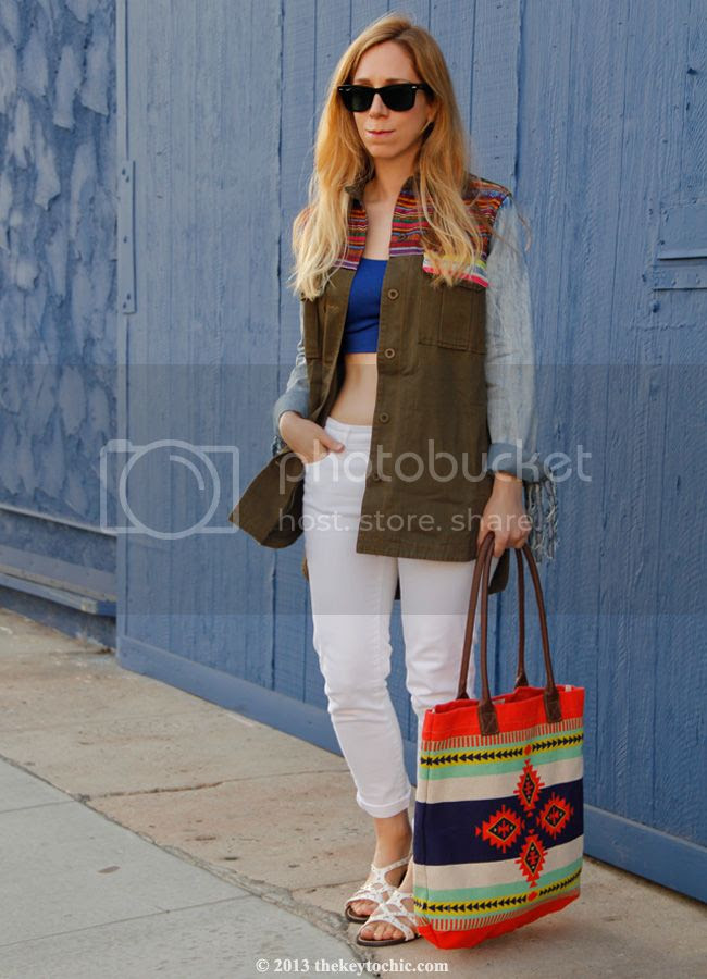 Boohoo Boutique Ava denim and Aztec jacket, Gap white skinny jeans, Mossimo Leonore sandals, Target Style, Los Angeles fashion and personal style blog, summer 2013 style