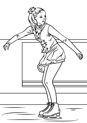 Dibujo De Chica Patinando Sobre Hielo Para Colorear Dibujos Para