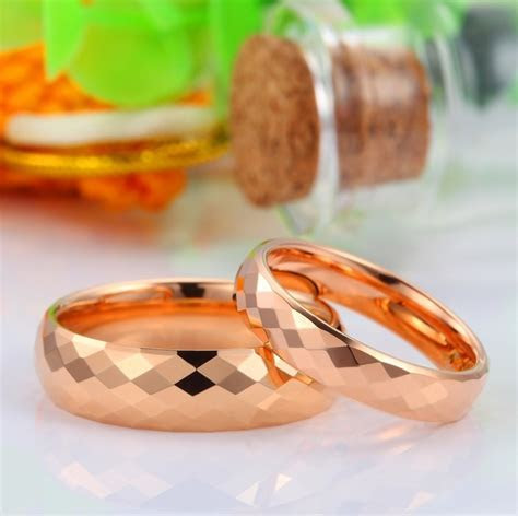 Rose Gold Plated Tungsten Wedding Bands, Faceted Finish